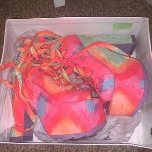 Y.R.U Rainbow platform heels